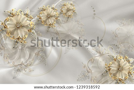 Gold ornamental floral jewellery pattern on decorative background 3D wallpaper
