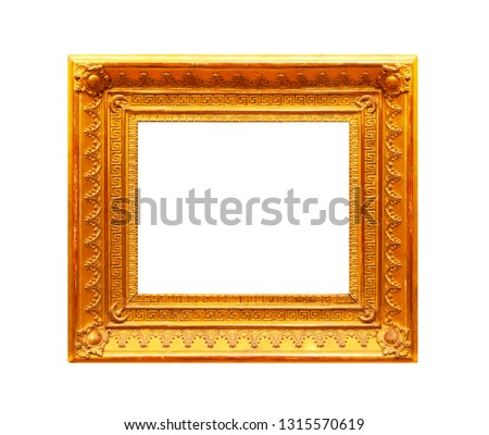 Gold ornate frame isolated on white background #1315570619