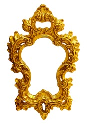 Gold oval frame on the white background