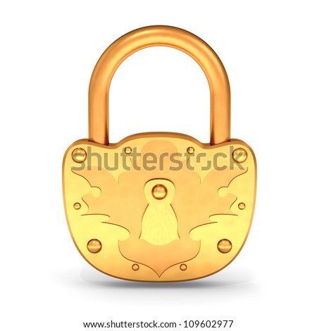 Gold Padlock isolated on the white background