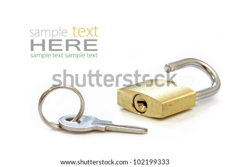 Gold Padlock. Isolated on white background.