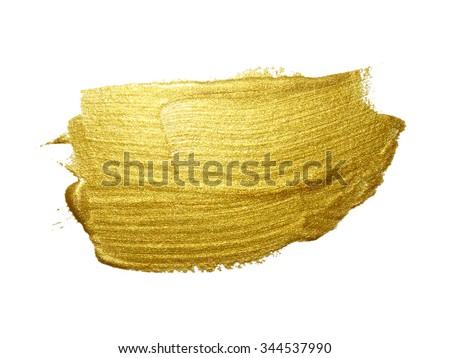 Gold paint brush stroke. Abstract gold glittering textured art illustration. #344537990