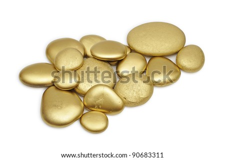 Gold painted stones set over white background.