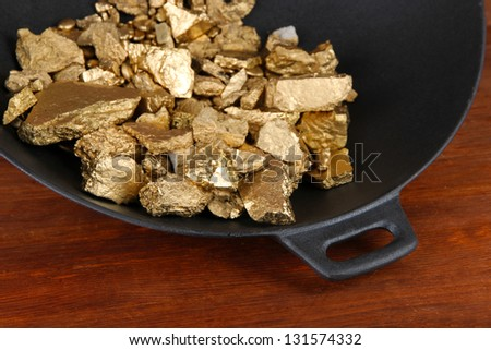 Gold pan with golden nuggets inside on wooden background