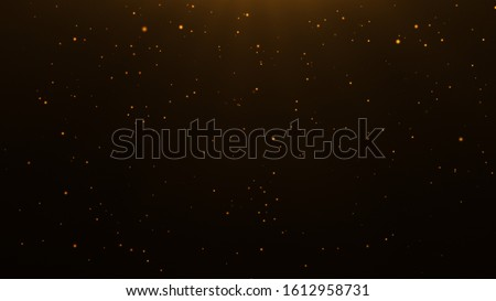 Photo of  gold particles abstract background with shining golden Floating Dust Particles Flare Bokeh star on Black Background. Futuristic glittering in space.