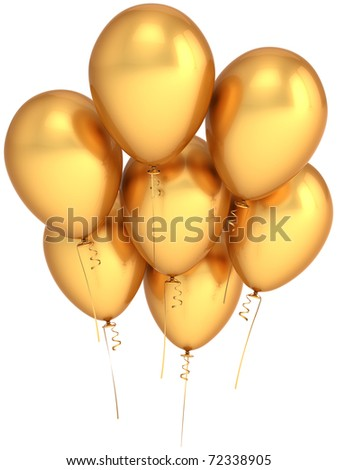 Gold party balloons 7 seven golden birthday decoration. Rich luxury anniversary jubilee celebration greeting card concept. Happiness positive abstract. Detailed 3d render. Isolated on white background