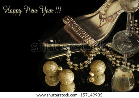 gold party shoes with champagne glasses