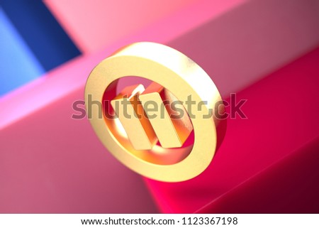 Gold Pause Contour Icon on the Pink and Blue Geometric Background. 3D Illustration of Gold Audio, Button, Control, Media, Pause Icon Set With Color Boxes on the Pink Background.
