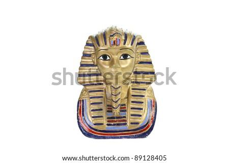 Gold pharaoh Tutankhamen mask isolated with clipping path - stock photo