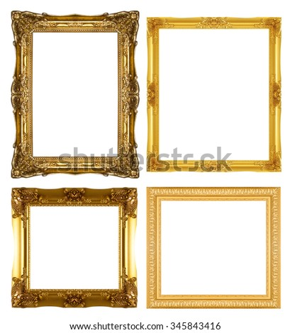 gold picture frame isolated on a white background. #345843416