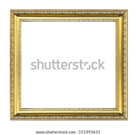 gold picture frame isolated on a white background. #551493631