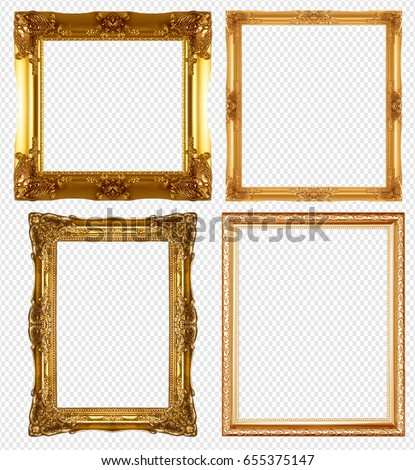 gold picture frame isolated on transparent background. #655375147