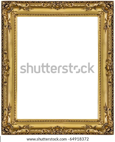 gold picture frame. isolated on white - stock photo