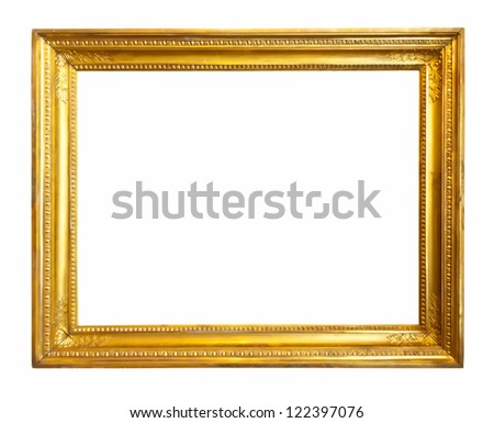gold picture frame. Isolated over white background with clipping path