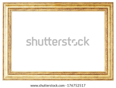 Gold picture frame. Isolated path and over white background