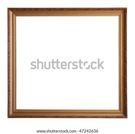 gold picture frame, isolated with clipping path