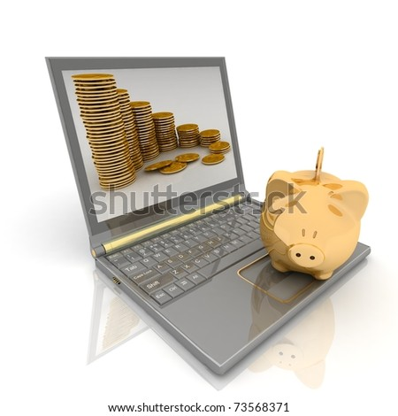 gold piggy bank and laptop