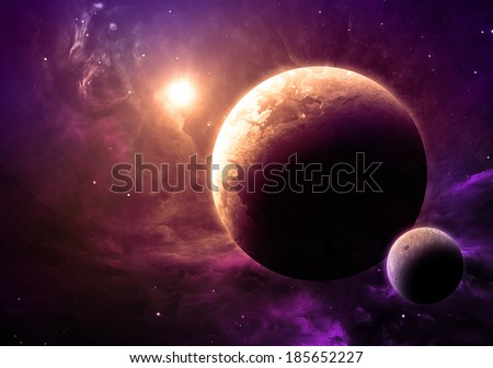 Gold Planet and Moon - Elements of this image furnished by NASA
