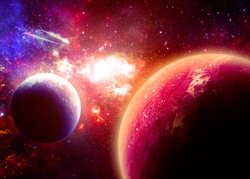 Gold Planetscape - Elements of this Image Furnished by NASA