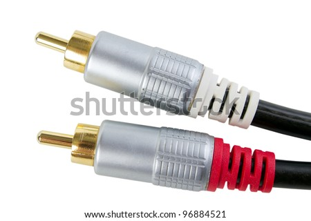 Gold plated RCA stereo audio connectors, isolated on white background