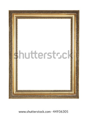 Gold plated wooden frame with clipping path