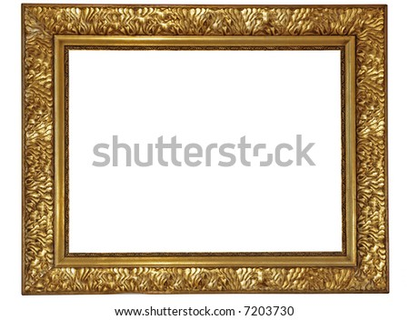 Gold plated wooden picture frame - stock photo