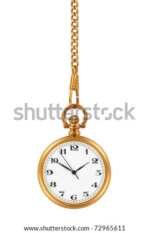 Gold pocket watch and chain, isolated on the white background, clipping path included.