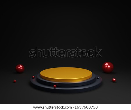 gold podium isolated on black background. red luxury balls. abstract minimal concept. minimalism design. 3d illustration