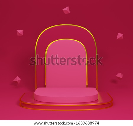 gold podium isolated on pink background. red luxury balls. abstract minimal concept. minimalism design. 3d illustration