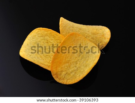 Gold potato chips isolated