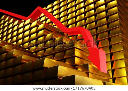 Gold prices falling in a bearish market. Red arrow going down over gold bullion bars. Concept digital 3D render. ストックフォト ©