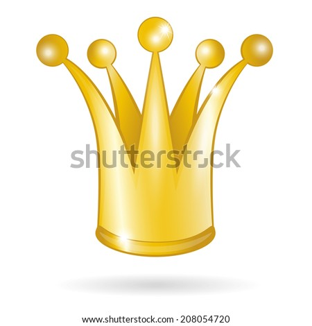 Gold princess crown isolated on a white background. Raster version