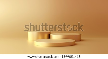 Gold product background stand or podium pedestal on advertising display with blank backdrops. 3D rendering.