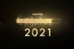 Gold progress bar Loading new year to 2021.