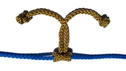 gold prusik knot ,prusik hitch ,double knot tied on a blue rope isolated on white background