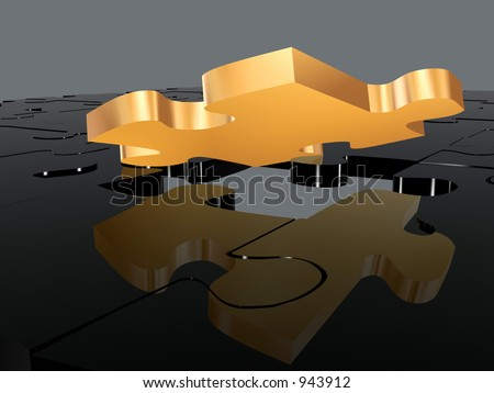gold puzzle piece in a black puzzle. 3D rendering