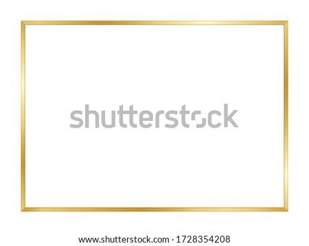 Gold rectangle border. Gold frame boarder. Golden vintage border. Shiny glowing realistic rectangle boarder isolated on background. Luxury golden frame. Design rectangular frame