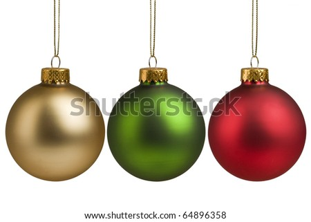 Gold, red and green Christmas baubles isolated on white background for holiday decoration. - stock photo