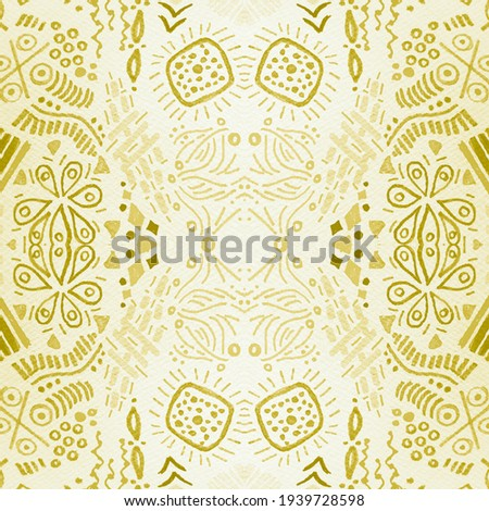 Gold Repeat. Gold African Textures. Bright Brush. Aztec Background. Aztec Pattern Seamless. Floral Shawl Design. Bright Aztec Watercolor. African Art Border.
