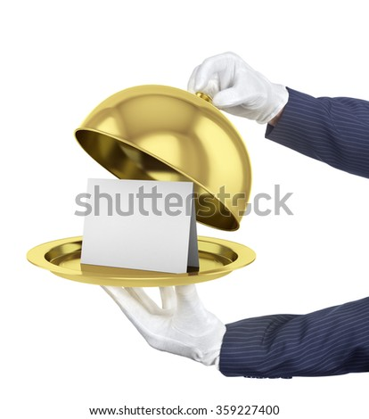 Gold restaurant cloche with open lid. 3d illustration. #359227400