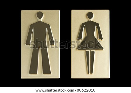 Gold restroom signs with clipping path