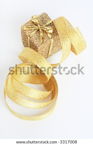gold ribbon and present holiday background