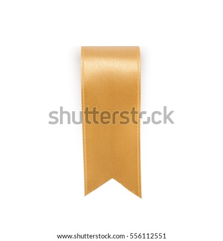 Gold ribbon bookmark isolated on white background