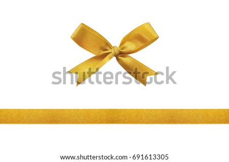 Gold ribbon bow on a white background.