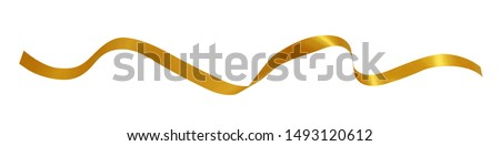 Gold Ribbon isolated on white background,clipping path