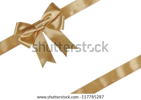 Gold ribbon with bow isolated on white background.