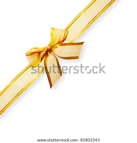 Gold ribbon with bow on white