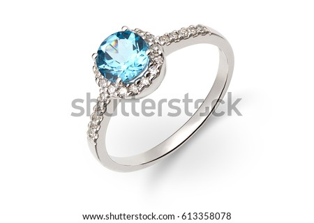 Gold ring with blue and white gem Foto d'archivio ©