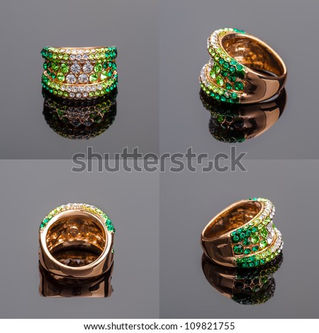 Gold ring with green crystals on on all sides
