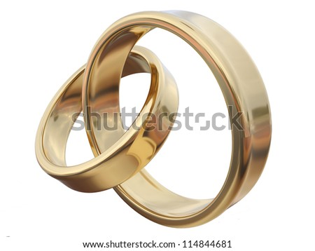 Gold rings isolated on white
